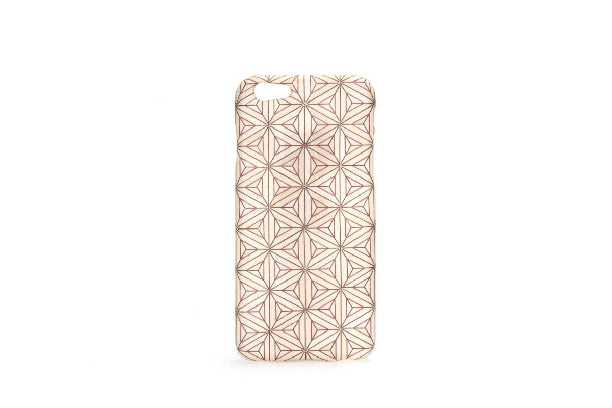 iPhone6sジャケット 箱根寄木細工2「八重麻葉/白」F