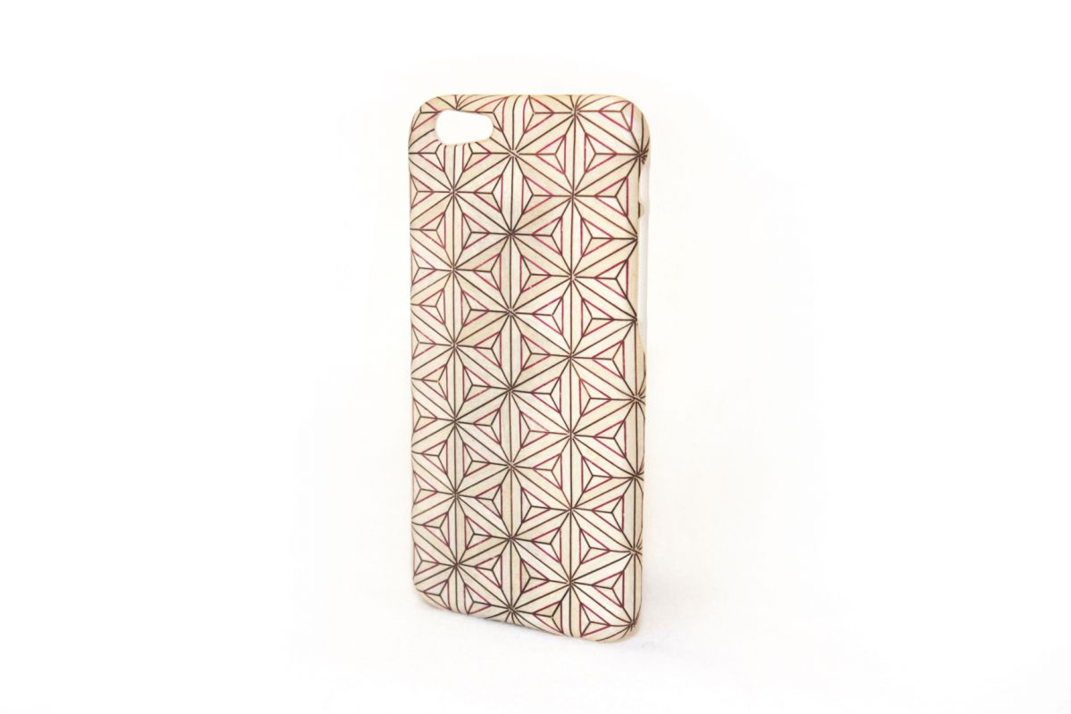 iPhone6sジャケット 箱根寄木細工2「八重麻葉/白」O